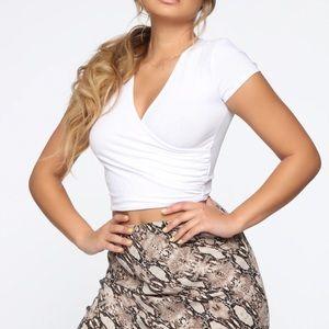 Fashion Nova Mariana Surplice Top - White